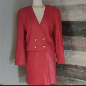 VINTAGE Red Double Breasted Leather Jacket/Skirt